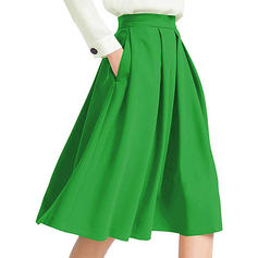 Polyester Plain Knee Length Flared Skirts A-Line Skirts