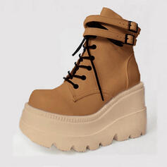 Women's PU Wedge Heel Closed Toe Boots Martin Boots Round Toe With Buckle Lace-up shoes