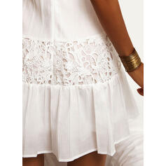 Solid Lace Sleeveless A-line Above Knee Little Black/Casual/Vacation Slip/Skater Dresses