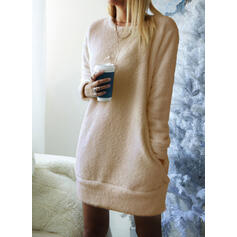 Solid Long Sleeves Shift Knee Length Little Black/Casual Tunic Dresses
