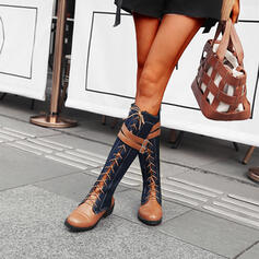 Women's PU Chunky Heel Knee High Boots Round Toe With Zipper Lace-up Splice Color shoes