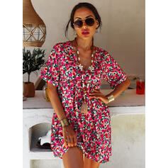 Print/Floral/Backless Short Sleeves Shift Above Knee Casual/Vacation Tunic Dresses