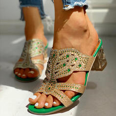 Women's PU Chunky Heel Sandals Pumps Peep Toe Slippers Heels With Rhinestone Hollow-out shoes