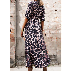 Leopard 3/4 Sleeves A-line Skater Casual Midi Dresses