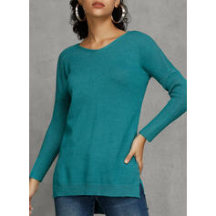 Solid V-Neck Casual Long Loose Sweater Dress