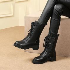Women's PU Chunky Heel Mid-Calf Boots Round Toe With Lace-up Solid Color shoes