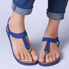 Women's PU Flat Heel Sandals Peep Toe Low Top Toe Ring With Hollow-out Elastic Band Solid Color shoes