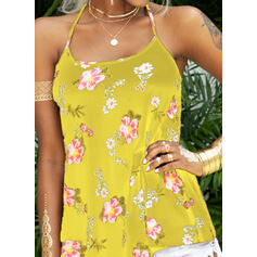 Print Floral Spaghetti Strap Sleeveless Casual Sexy Tank Tops