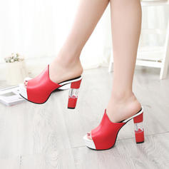 Women's PU Chunky Heel Sandals Pumps Platform Peep Toe Slippers With Others shoes