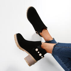 Women's Suede Chunky Heel Boots Ankle Boots Snow Boots High Top Round Toe With Buckle Elastic Band Solid Color shoes