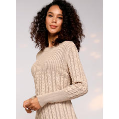 Solid Cable-knit Chunky knit Round Neck Casual Long Tight Sweater Dress