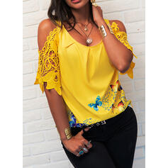 Print Animal Print Lace Cold Shoulder 3/4 Sleeves Casual Blouses
