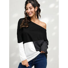 Color Block One Shoulder Long Sleeves T-shirts