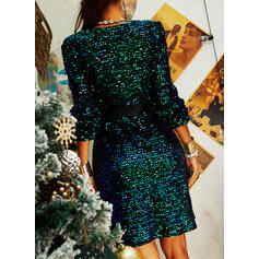Sequins Long Sleeves Sheath Above Knee Party Wrap Dresses