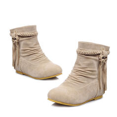Women's Suede Flat Heel Mid-Calf Boots Round Toe With Lace-up shoes