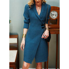 Solid Long Sleeves Sheath Knee Length Casual Sweater Dresses