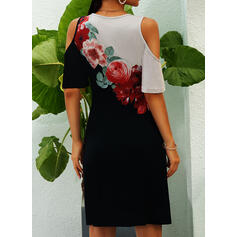 Print/Floral 1/2 Sleeves Sheath Above Knee Casual/Vacation Dresses