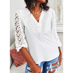 Solid Lace V-Neck 3/4 Sleeves Button Up Elegant Blouses