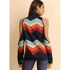 Striped Cold Shoulder Casual Blouses