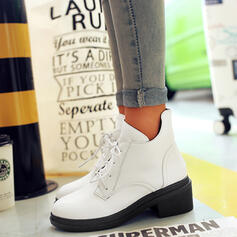 Women's PU Low Heel Flat Heel Chunky Heel Boots Ankle Boots High Top Low Top Round Toe With Lace-up shoes