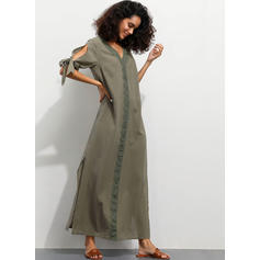 Lace/Solid 1/2 Sleeves Shift Tunic Casual/Vacation Maxi Dresses