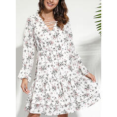 Print/Floral/Lace-up Long Sleeves A-line Above Knee Casual/Elegant Skater Dresses