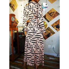 Print Long Sleeves A-line Shirt/Skater Casual Maxi Dresses