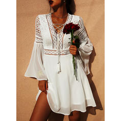 Lace/Solid Long Sleeves/Flare Sleeves A-line Above Knee Casual/Vacation Skater Dresses