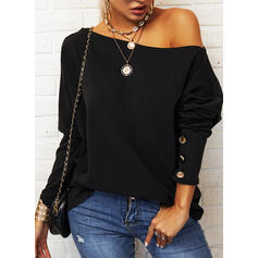 Solid Round Neck Long Sleeves Button Up Casual Blouses