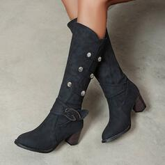 Women's PU Chunky Heel Mid-Calf Boots Pointed Toe With Zipper Solid Color shoes