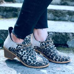 Women's Canvas Chunky Heel Ankle Boots Pointed Toe With Animal Print Zipper Ankle Strap shoes