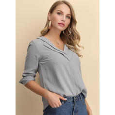 Solid V-Neck Long Sleeves Casual Elegant Knit Blouses