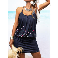 Print/Floral Sleeveless Bodycon Above Knee Vacation Slip Dresses