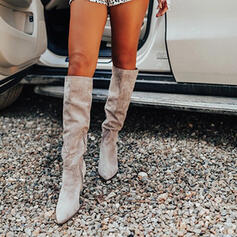 Women's Suede Chunky Heel Martin Boots Pointed Toe With Ruched Zipper shoes