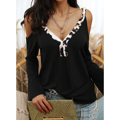 Leopard Cold Shoulder Long Sleeves Casual Blouses