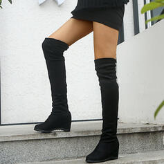 Women's PU Wedge Heel Boots Knee High Boots Round Toe With Solid Color shoes
