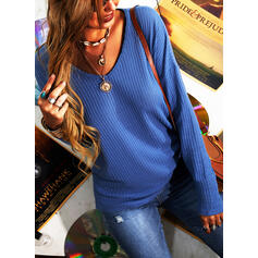 Solid V-Neck Long Sleeves Casual Basic Knit Blouses