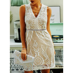 Lace/Solid Sleeveless Sheath Above Knee Casual Dresses