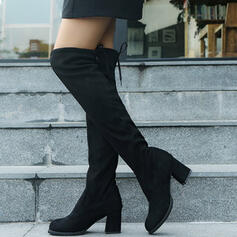 Women's PU Chunky Heel Over The Knee Boots Martin Boots Round Toe With Zipper Solid Color shoes