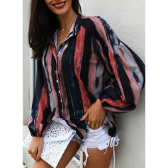 Striped V-Neck 3/4 Sleeves Button Up Casual Shirt Blouses