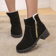 Women's Leatherette Chunky Heel Boots Low Top Round Toe With Zipper shoes
