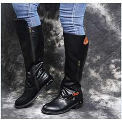 Women's Leatherette Chunky Heel Mid-Calf Boots Pointed Toe With Rivet Zipper shoes