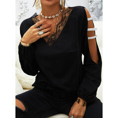 Solid Lace Sequins Cold Shoulder Long Sleeves Casual Blouses