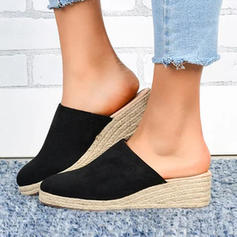 Women's PU Wedge Heel Sandals Closed Toe Slippers shoes