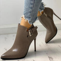 Women's PU Stiletto Heel Pointed Toe Martin Boots With Buckle Solid Color shoes