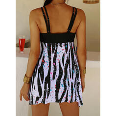 Print Strap Sexy Plus Size Swimdresses Swimsuits