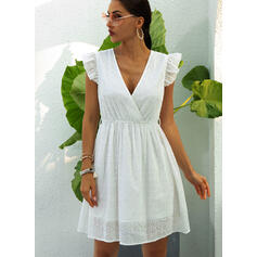 Solid Cap Sleeve A-line Above Knee Casual Skater Dresses