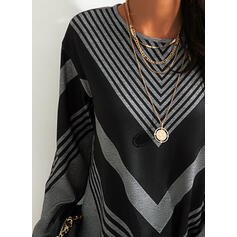 Couleurs Opposées Striped Col rond Manches longues Sweat-shirts