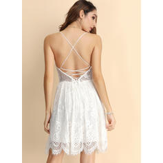 Lace/Solid/Backless Sleeveless A-line Above Knee Sexy/Party Slip Dresses