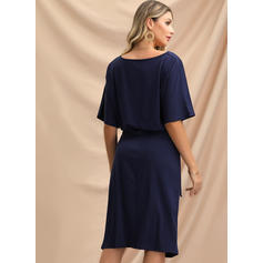 Solid Short Sleeves Sheath Knee Length Casual/Elegant Dresses
